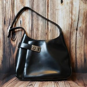 "Ferragamo patent leather ""horse bit"" shoulder bag"